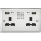 Knightsbridge 13A 2G Switched Socket Dual USB Charger Slots With Black Insert - Bevelled Edge Polish