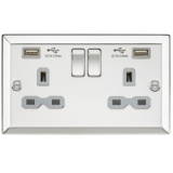 Knightsbridge 13A 2G Switched Socket Dual USB Charger Slots With Grey Insert - Bevelled Edge Polishe