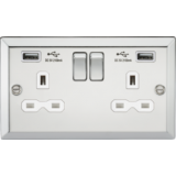 Knightsbridge 13A 2G Switched Socket Dual USB Charger Slots With White Insert - Bevelled Edge Polish