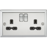 Knightsbridge 13A 2G DP Switched Socket With Black Insert - Bevelled Edge Polished Chrome