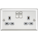 Knightsbridge 13A 2G DP Switched Socket With Grey Insert - Bevelled Edge Polished Chrome