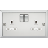 Knightsbridge 13A 2G DP Switched Socket With White Insert - Bevelled Edge Polished Chrome