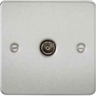 Flat Plate 1G TV Outlet (Non-Isolated) - Brushed Chrome