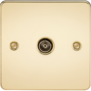 Flat Plate 1G TV Outlet (Non-Isolated) - Polished Brass