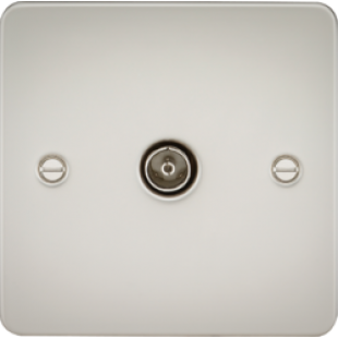 Flat Plate 1G TV Outlet (Non-Isolated) - Pearl
