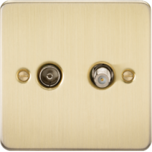 Flat Plate TV & SAT TV Outlet (Isolated) - Brushed Brass