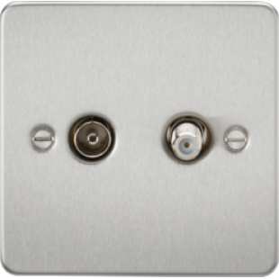 Flat Plate TV & SAT TV Outlet (Isolated) - Brushed Chrome