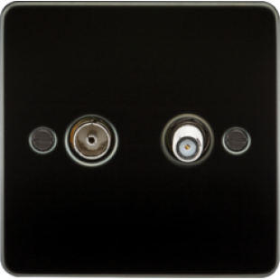 Flat Plate TV & SAT TV Outlet Isolated - Gunmetal