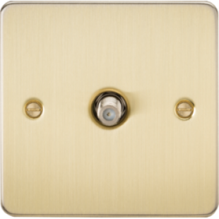 Flat Plate 1G SAT TV Outlet (Non-Isolated) - Brushed Brass