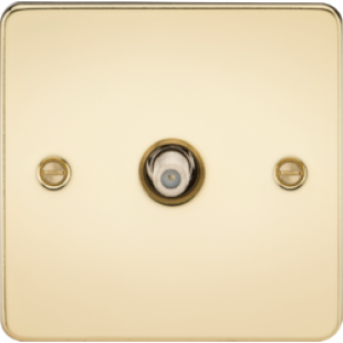 Flat Plate 1G SAT TV Outlet (Non-Isolated) - Polished Brass