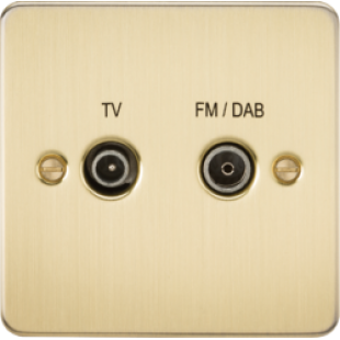 Flat Plate Screened Diplex Outlet (TV & FM DAB) - Brushed Brass