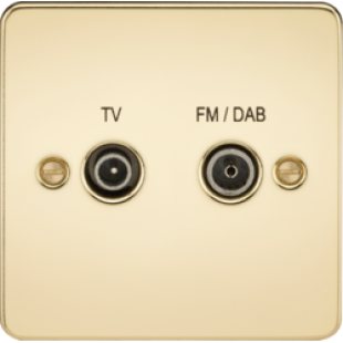 Flat Plate Screened Diplex Outlet (TV & FM DAB) - Polished Brass