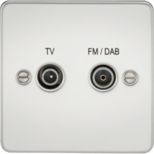 Flat Plate Screened Diplex Outlet (TV & FM DAB) - Polished Chrome