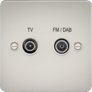 Flat Plate Screened Diplex Outlet (TV & FM DAB) - Pearl