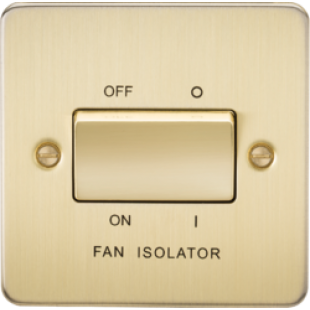 Knightsbridge Flat Plate 10A 3 Pole Fan Isolator Switch - Brushed Brass