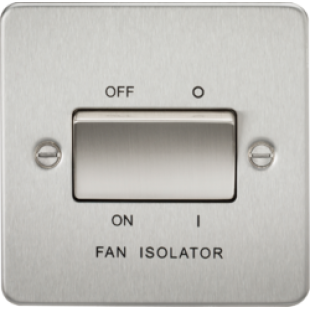 Knightsbridge Flat Plate 10A 3 Pole Fan Isolator Switch - Brushed Chrome