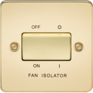 Knightsbridge Flat Plate 10A 3 Pole Fan Isolator Switch - Polished Brass