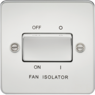 Knightsbridge Flat Plate 10A 3 Pole Fan Isolator Switch - Polished Chrome