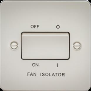 Knightsbridge Flat Plate 10A 3 Pole Fan Isolator Switch - Pearl