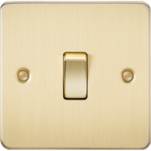 Knightsbridge Flat Plate 10A 1G Intermediate Switch - Brushed Brass