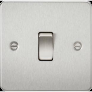 Knightsbridge Flat Plate 10A 1G Intermediate Switch - Brushed Chrome