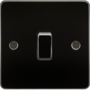 Knightsbridge Flat Plate 10A 1G Intermediate Switch - Gunmetal