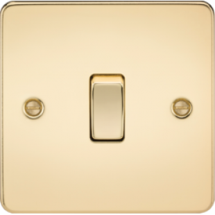 Knightsbridge Flat Plate 10A 1G Intermediate Switch - Polished Brass