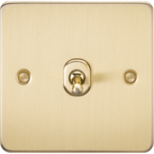 Knightsbridge Flat Plate 10A 1G Intermediate Toggle Switch - Brushed Brass