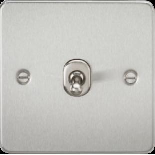 Knightsbridge Flat Plate 10A 1G Intermediate Toggle Switch - Brushed Chrome