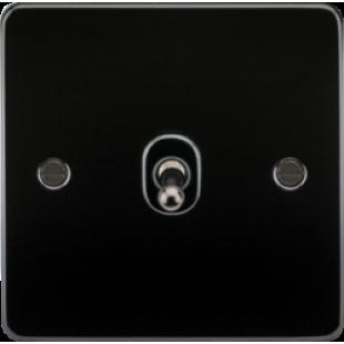 Knightsbridge Flat Plate 10A 1G Intermediate Toggle Switch - Gunmetal