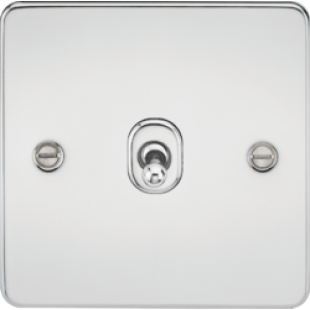 Knightsbridge Flat Plate 10A 1G Intermediate Toggle Switch - Polished Chrome