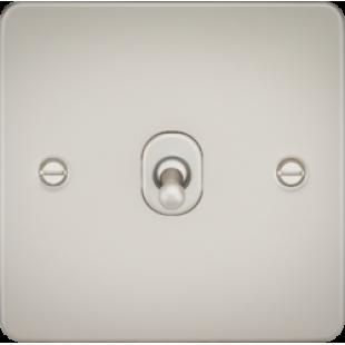 Knightsbridge Flat Plate 10A 1G Intermediate Toggle Switch - Pearl