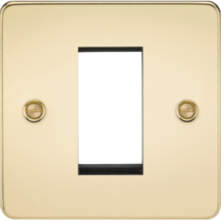 Flat Plate 1G Modular Faceplate - Polished Brass