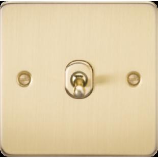 Knightsbridge Flat Plate 10A 1G 2 Way Toggle Switch - Brushed Brass