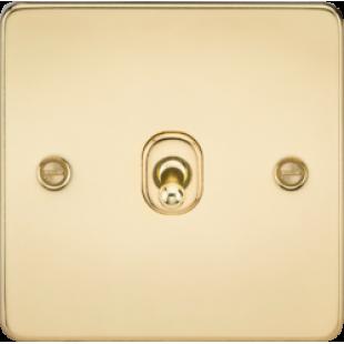 Knightsbridge Flat Plate 10A 1G 2 Way Toggle Switch - Polished Brass