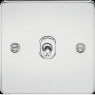 Knightsbridge Flat Plate 10A 1G 2 Way Toggle Switch - Polished Chrome