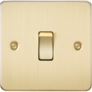 Knightsbridge Flat Plate 10A 1G 2 Way Switch - Brushed Brass