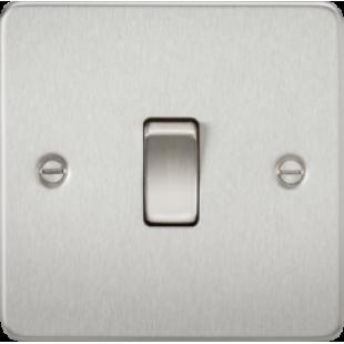 Knightsbridge Flat Plate 10A 1G 2 Way Switch - Brushed Chrome