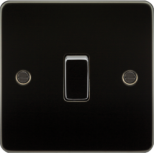 Knightsbridge Flat Plate 10A 1G 2 Way Switch - Gunmetal