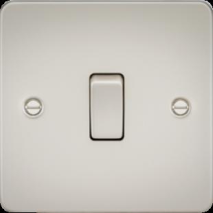 Knightsbridge Flat Plate 10A 1G 2 Way Switch - Pearl