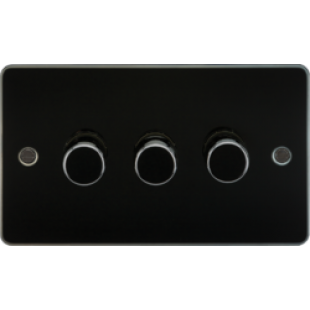 Flat Plate 3G 2 Way Dimmer 60-400W - Gunmetal