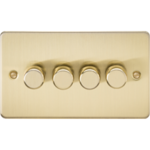 Flat Plate 4G 2 Way Dimmer 60-400W - Brushed Brass