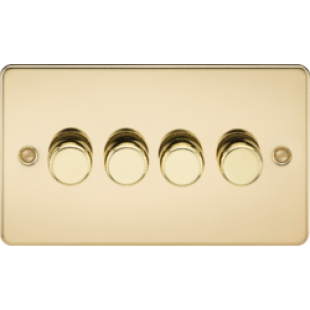 Flat Plate 4G 2 Way Dimmer 60-400W - Polished Brass