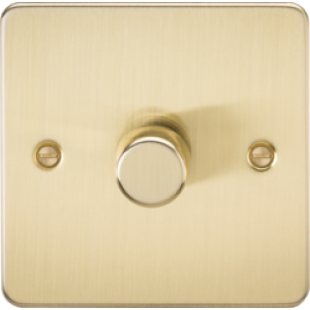 Flat Plate 1G 2 Way 40-400W Dimmer - Brushed Brass
