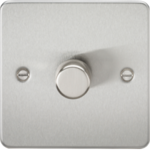 Flat Plate 1G 2 Way 40-400W Dimmer - Brushed Chrome