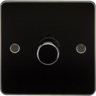 Flat Plate 1G 2 Way 40-400W Dimmer - Gunmetal