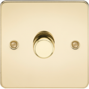 Flat Plate 1G 2 Way 40-400W Dimmer - Polished Brass