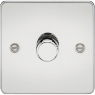 Flat Plate 1G 2 Way 40-400W Dimmer - Polished Chrome
