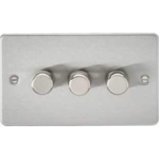 Flat Plate 3G 2 Way 40-400W Dimmer - Brushed Chrome