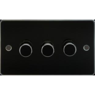 Flat Plate 3G 2 Way 40-400W Dimmer - Gunmetal